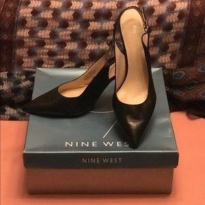 Black Nine West Slingback Heels. Size 10